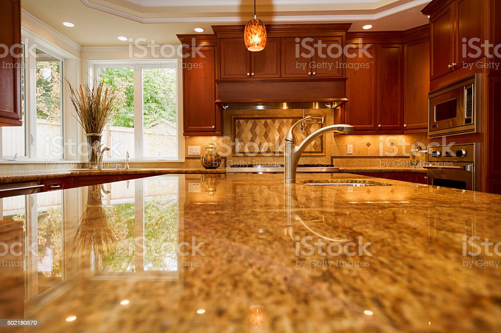 New Upscale Custom Kitchen marble counter-top with copy space stock photo