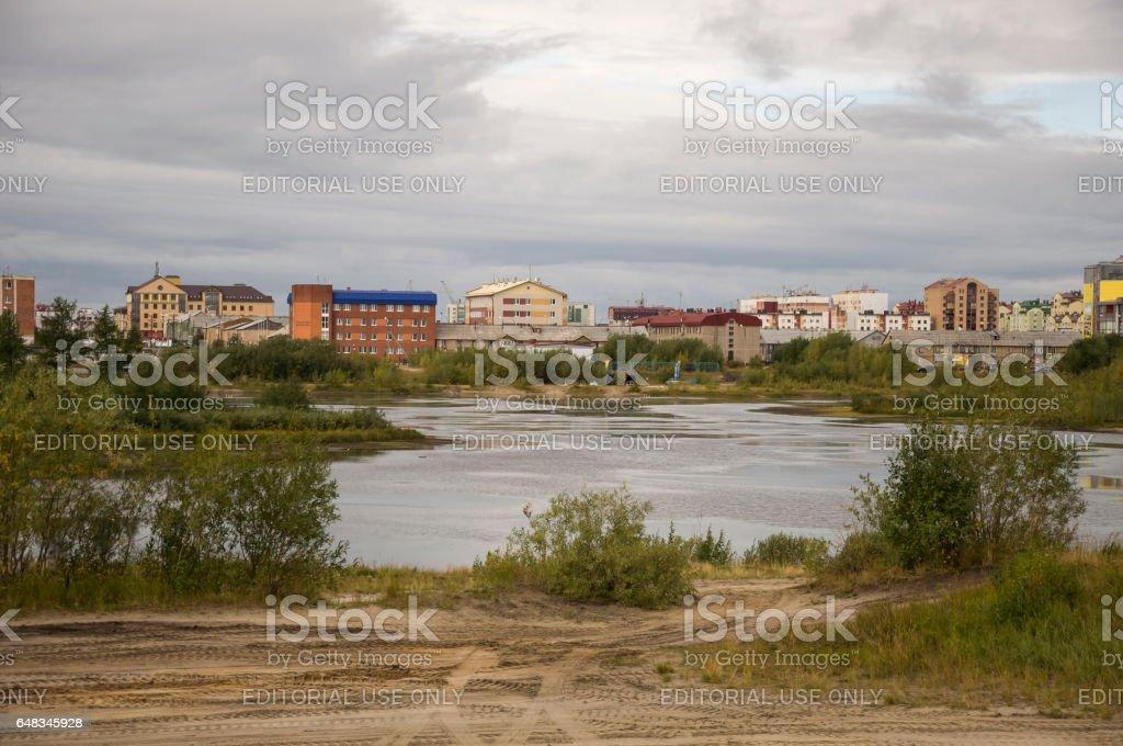 New Urengoy, YaNAO, North of Russia. September 1, 2013. Lake named Nameless stock photo