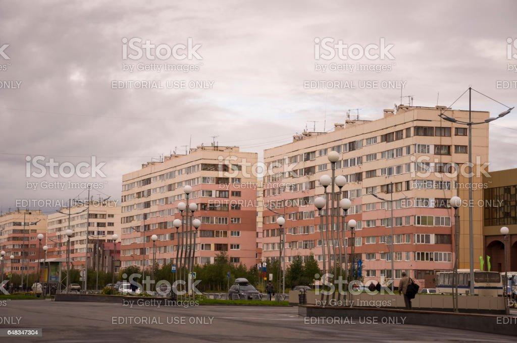 New Urengoy, YaNAO, North of Russia. September 1, 2013. Leningrad avenue in the city stock photo