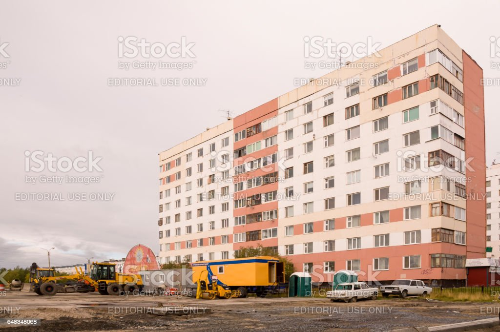 New Urengoy, YaNAO, North of Russia. September 1, 2013. Many-storeyed houses on the passage Of the Peoples of the North stock photo
