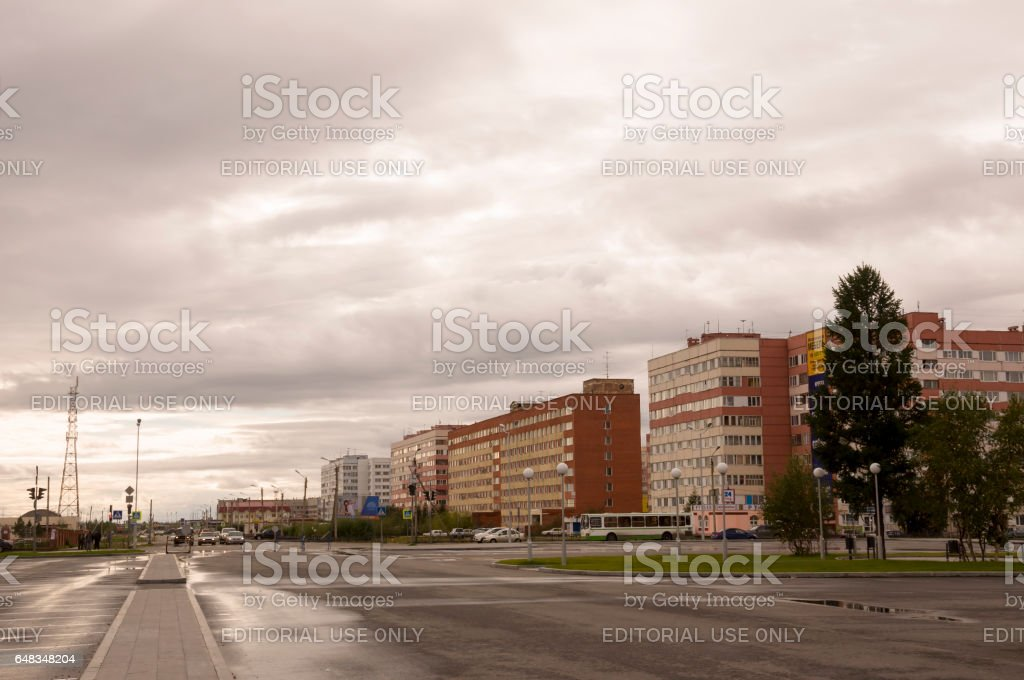 New Urengoy, YaNAO, North of Russia. September 1, 2013. Modern business offices on the 26th Congress of the CPSU street stock photo