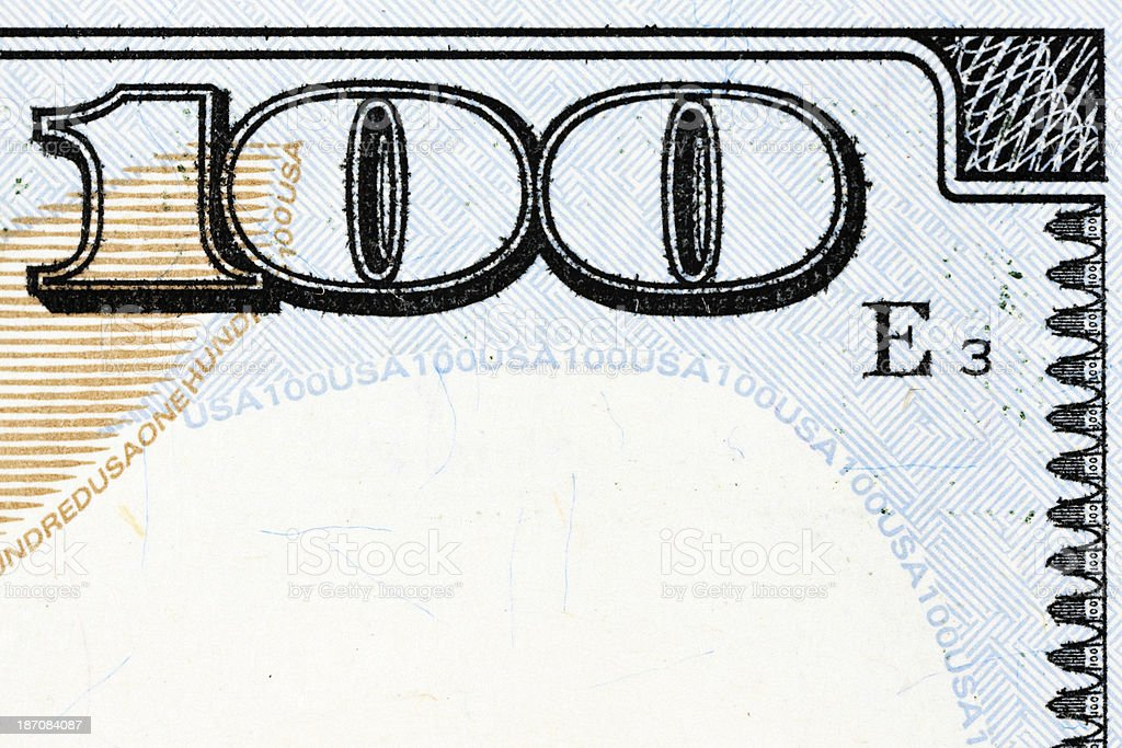 New US 2013 $100 Bill Border with Copy Space stock photo
