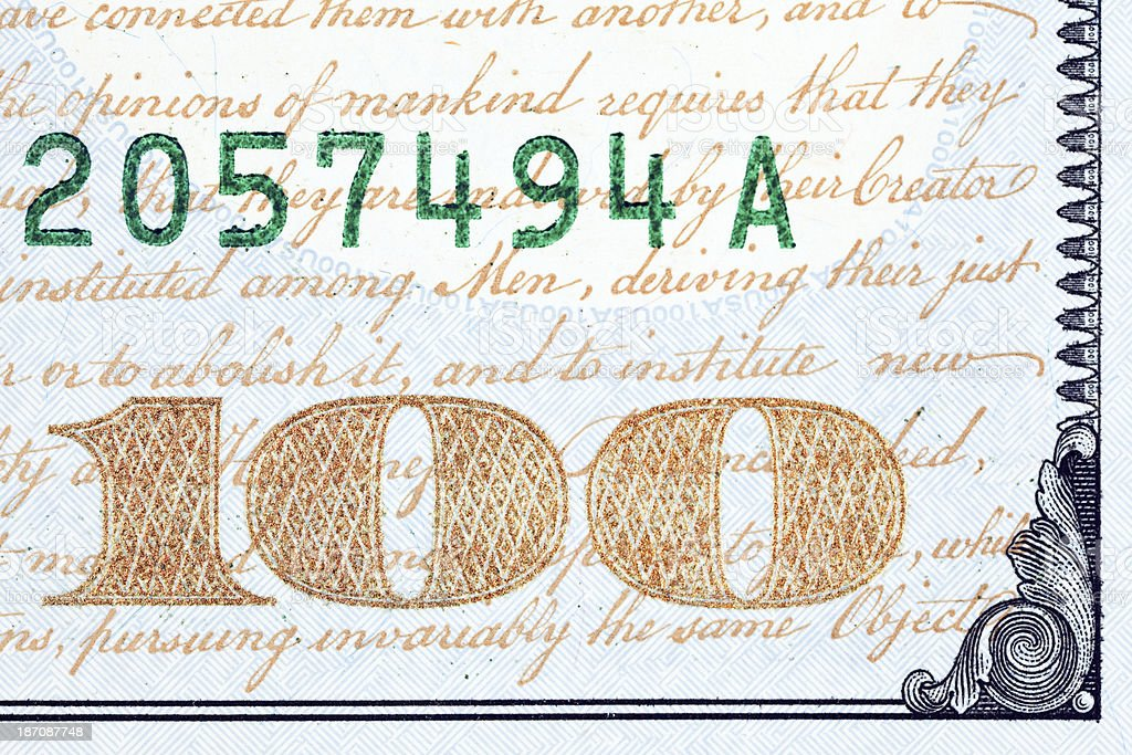New US 2013 $100 Bill Color Shifting Numbers Extreme Macro stock photo