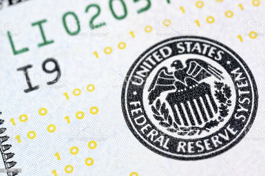 New US 2013 $100 Bill Federal Reserve Seal Extreme Macro stock photo