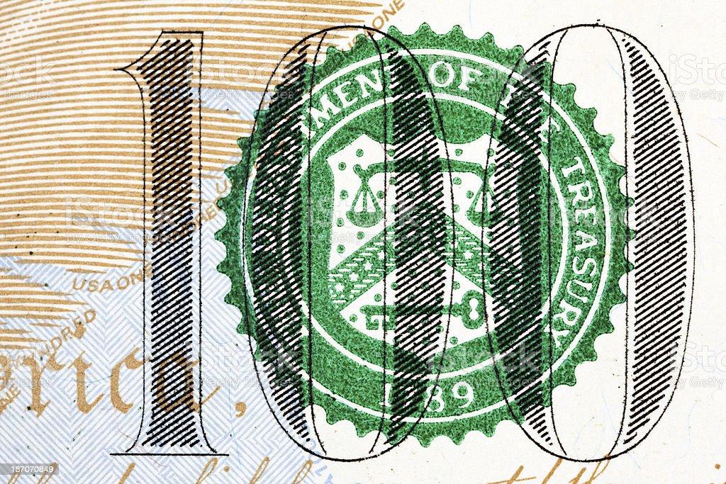 New US 2013 $100 Bill Treasury Seal Extreme Macro stock photo