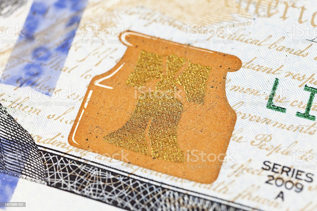 New US 2013 $100 Ink Well and Liberty Bell Macro stock photo
