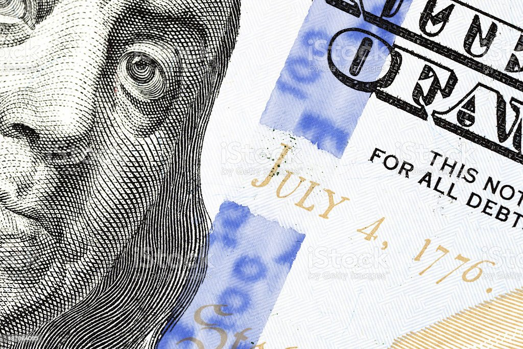 New US 2013 $100 Security Strip Extreme Macro stock photo