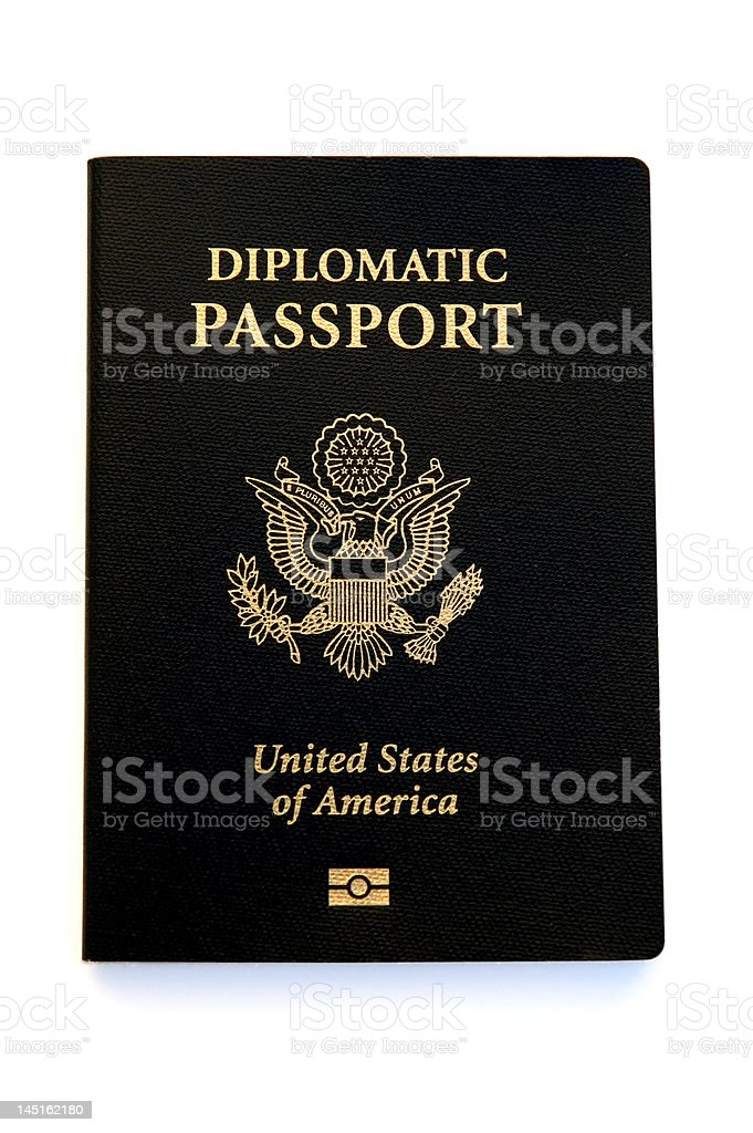 New U.S. Diplomatic Passport with Microchip royalty-free stock photo