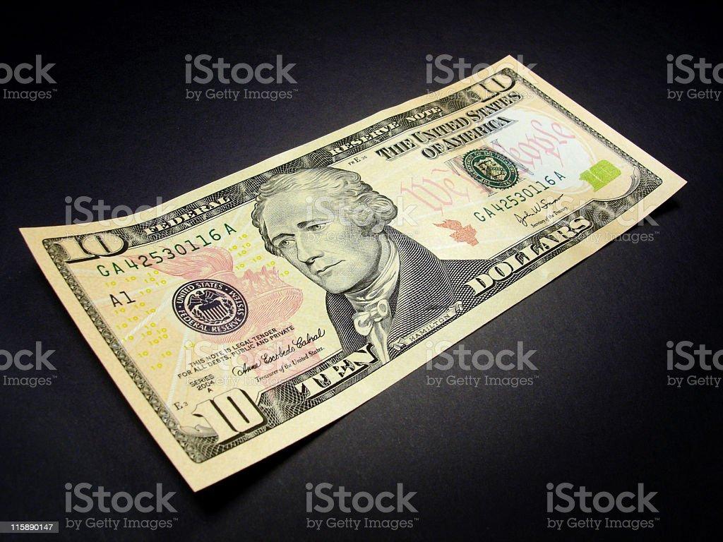 New USA Ten Dollar Bill stock photo
