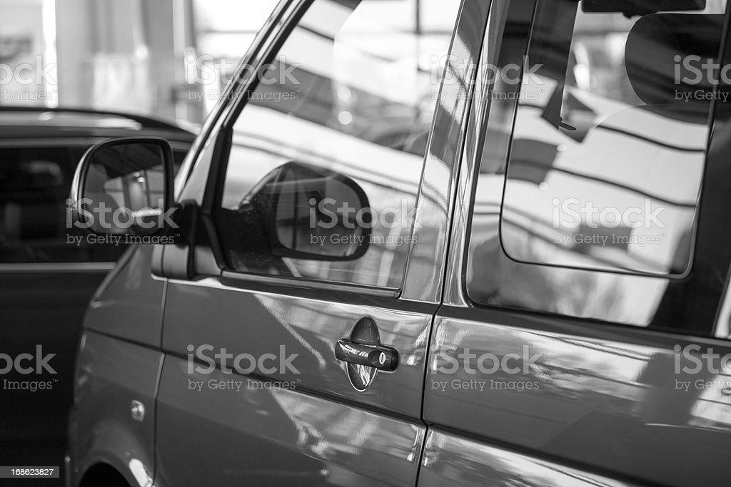New van transporter in sales salon stock photo