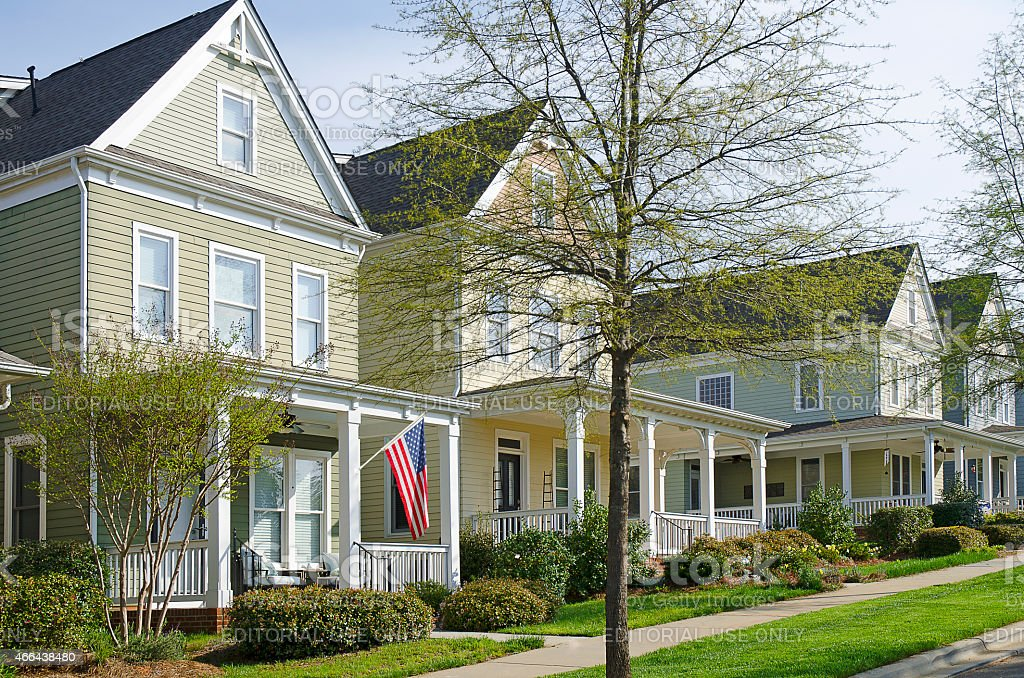 New Victorian-style Row Homes stock photo