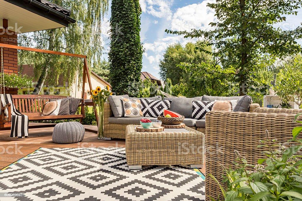 New villa patio idea stock photo