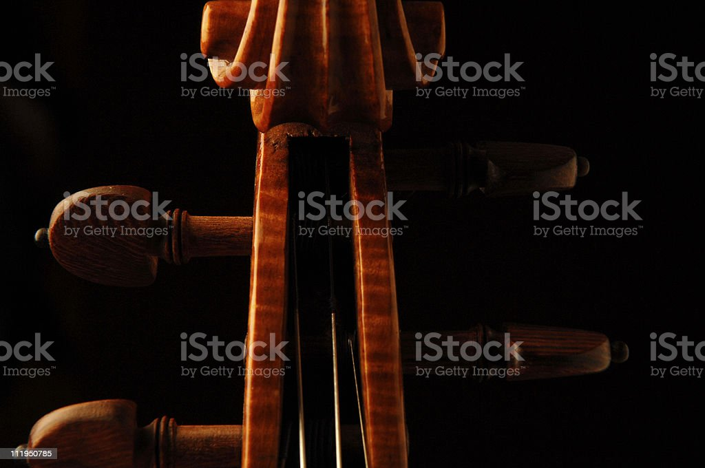 New Violin Closeup Scroll with Rosewood Tuning Pegs on Black stock photo