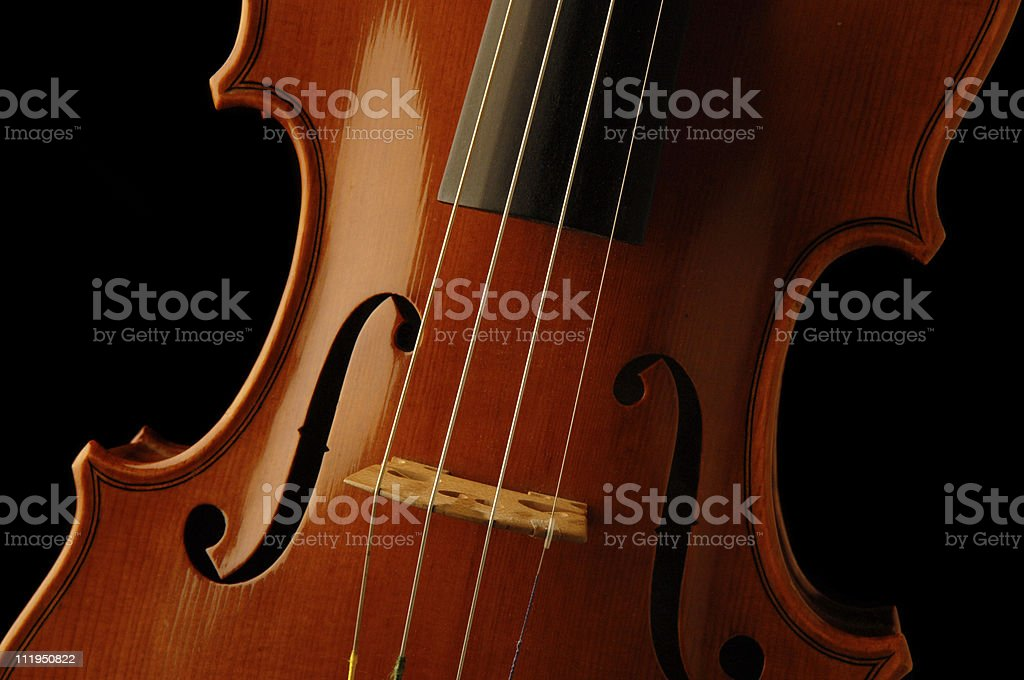 New Violin Cropped on Black stock photo