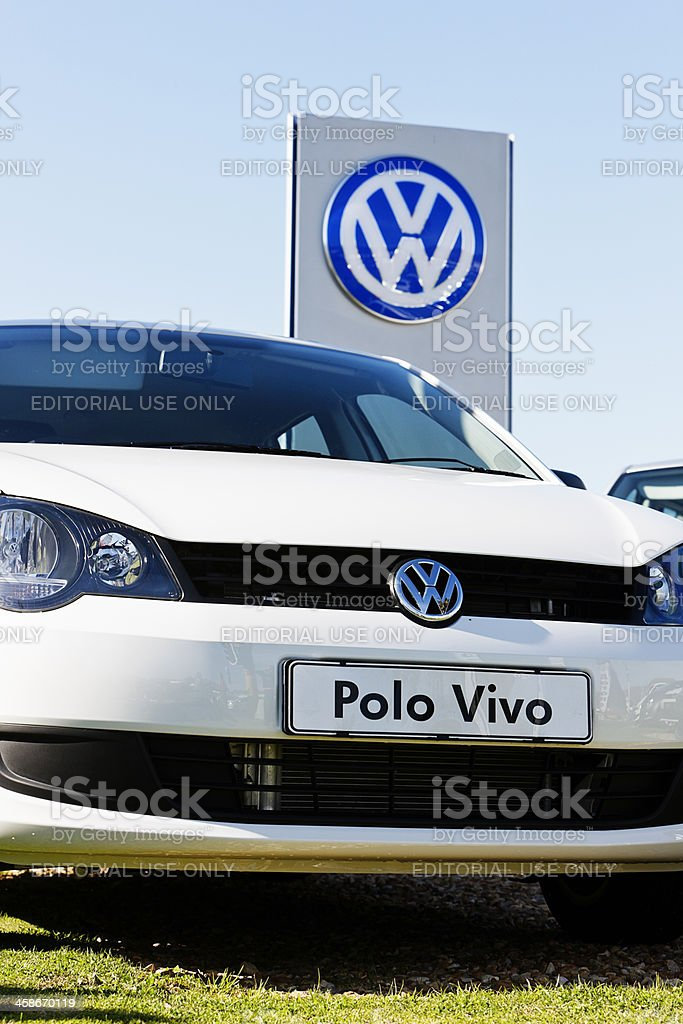 New Volkswagen Polo Vivo outside suburban motor dealership royalty-free stock photo