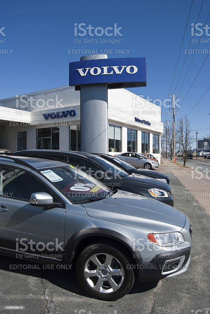 New Volvo Vehicles on a Dealership Lot stock photo
