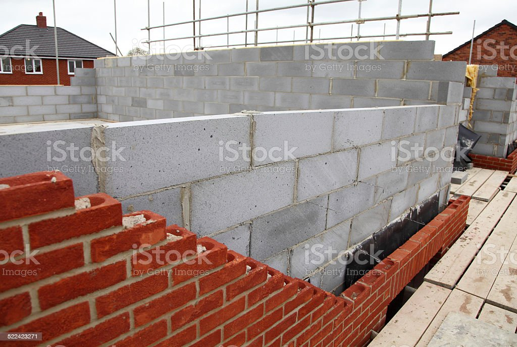 new wall on house stock photo