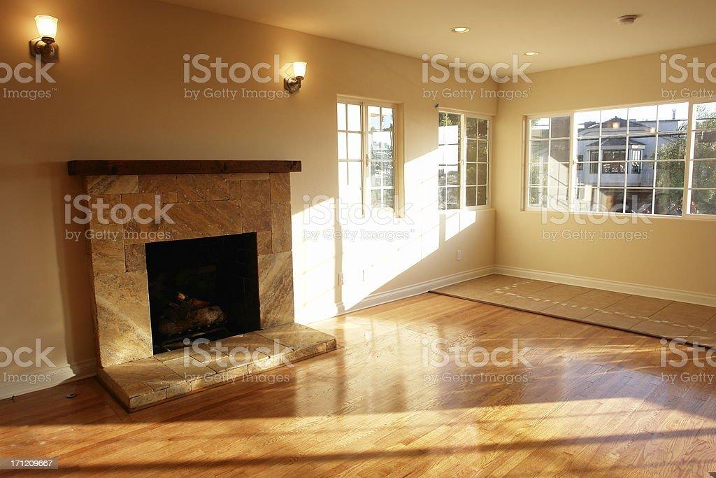 New Warm Sunlight Hardwood Fireplace royalty-free stock photo