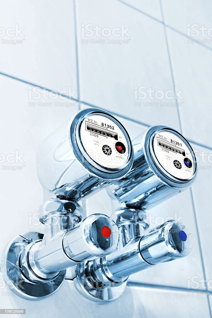 new water counter in a bathroom stock photo