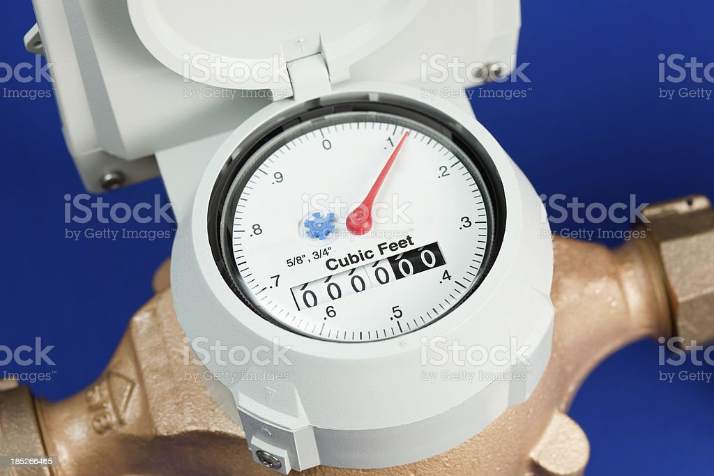New Water Meter against Blue Background stock photo