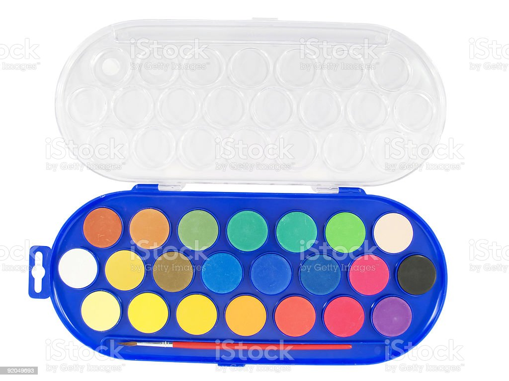 New watercolor box with brush royalty-free stock photo