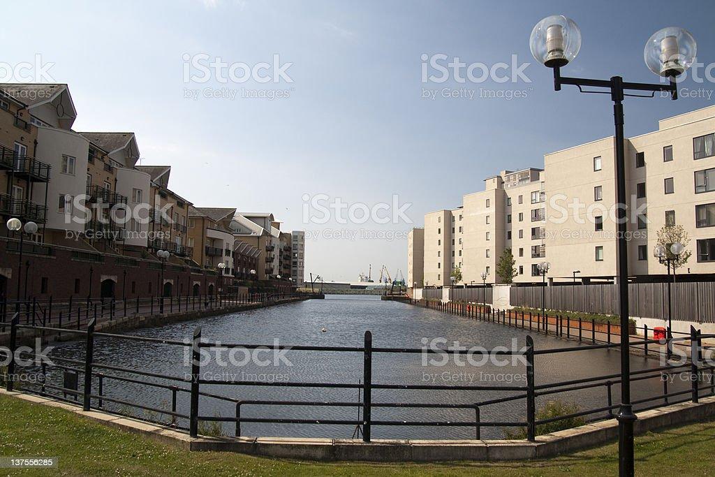 New waterside development stock photo