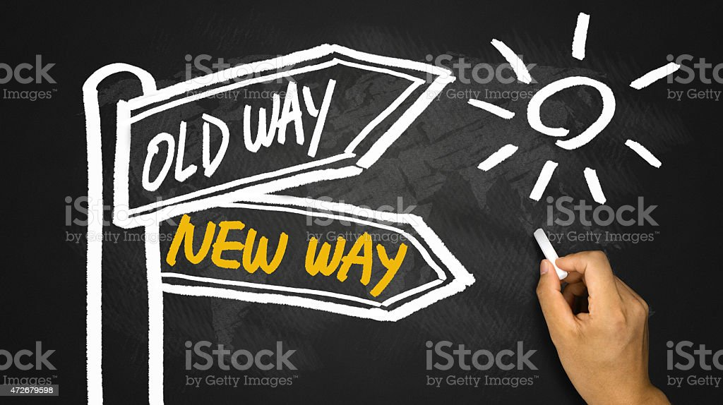new way or old way signpost hand drawing on blackboard stock photo