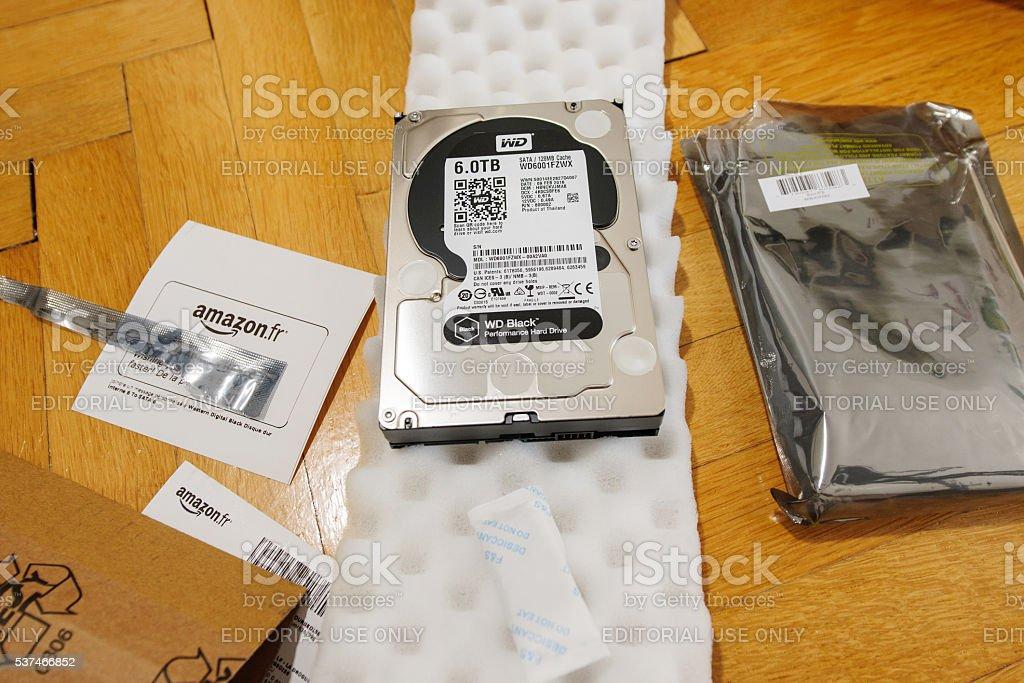 New Western Digital Hard disk drive with 6 Terabytes capacity stock photo