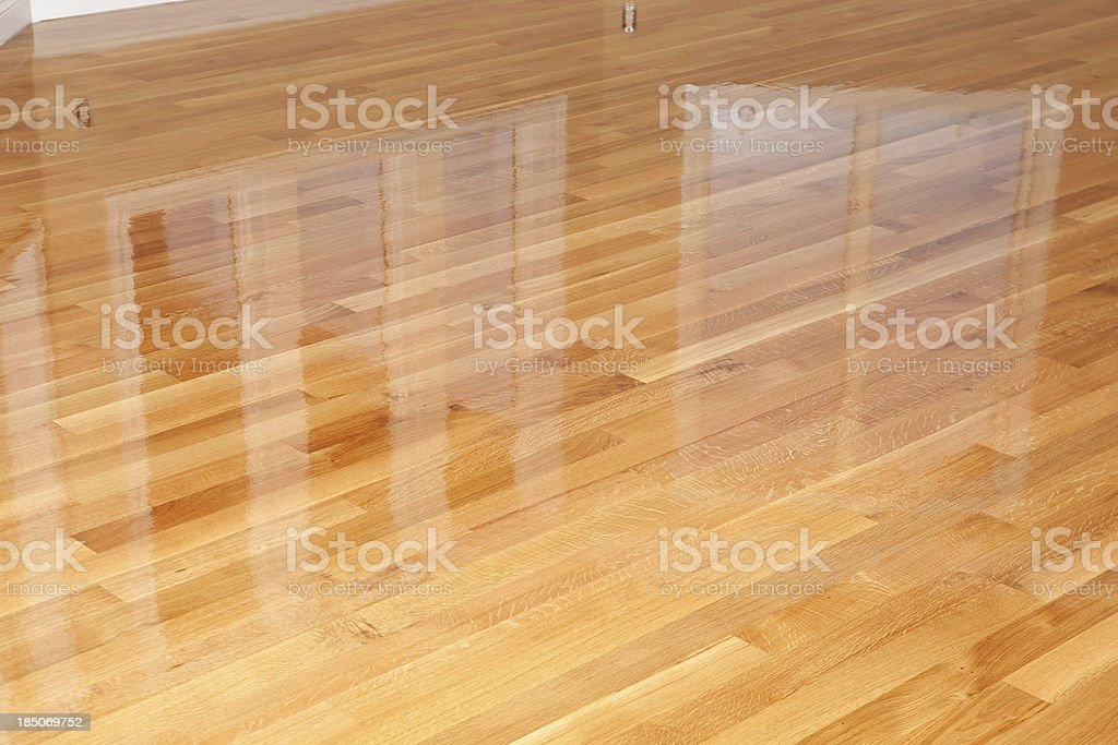 New Wet Polyurethane Coated Oak Hardwood Floor stock photo