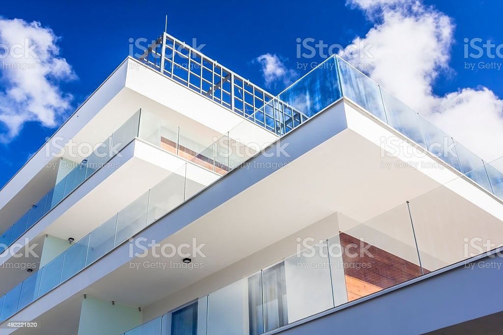 New white apartment building stock photo