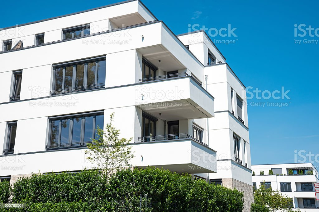 New white apartment house in Berlin stock photo