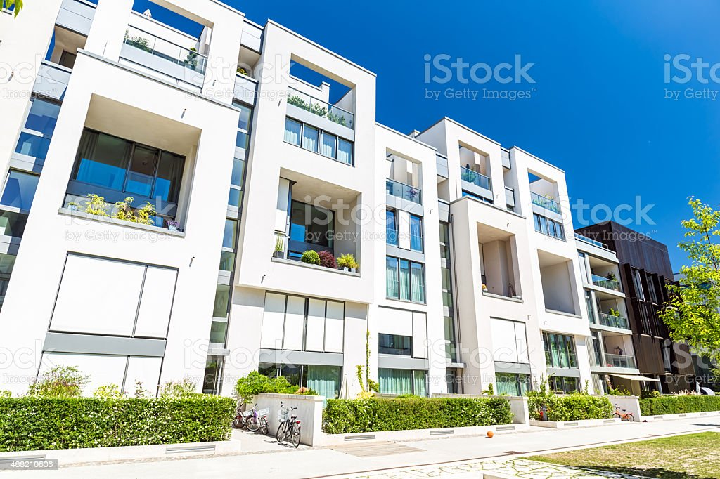 New white apartment houses stock photo