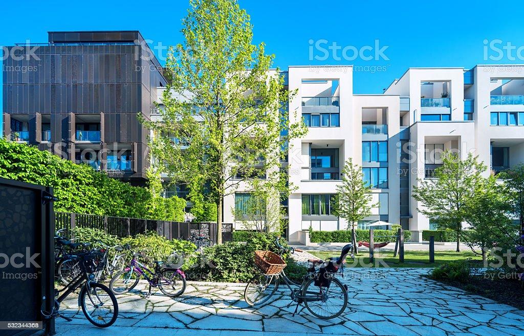 New white apartment houses royalty-free stock photo