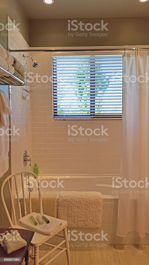 New White Bathroom With An Old Fashioned Look stock photo