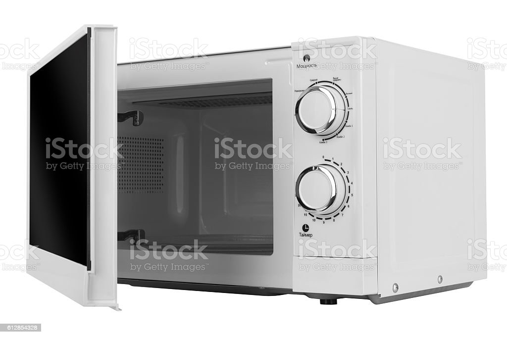 New white microwave oven isolated on white background stock photo