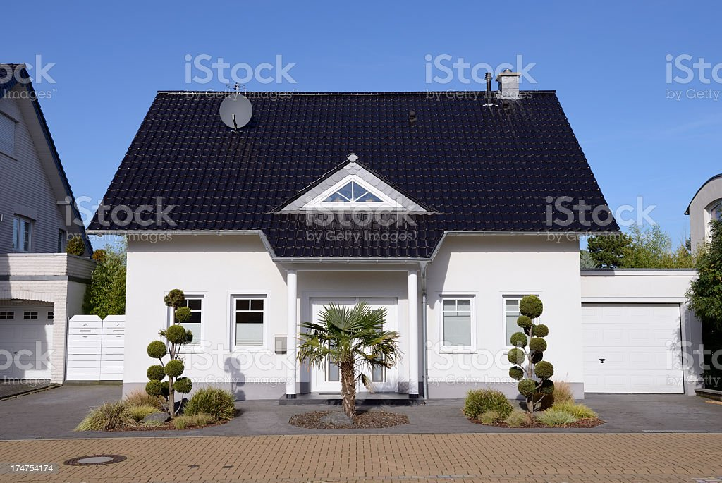 New white one family house stock photo