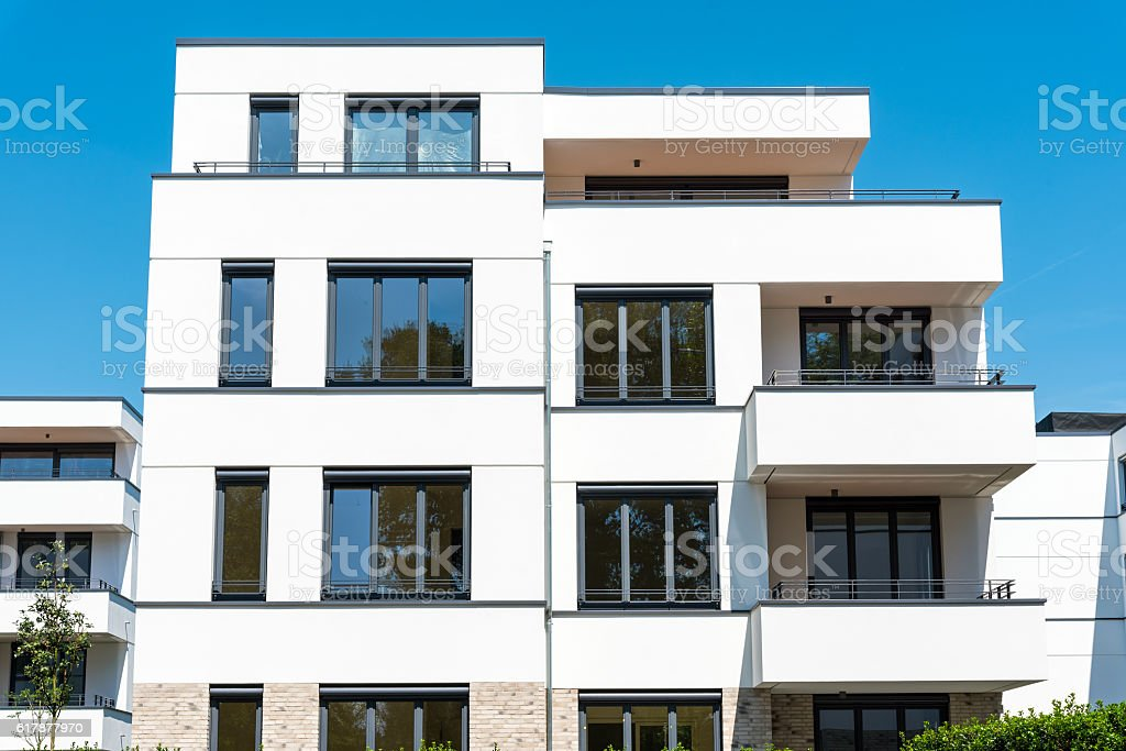 New white townhouses seen in Berlin stock photo