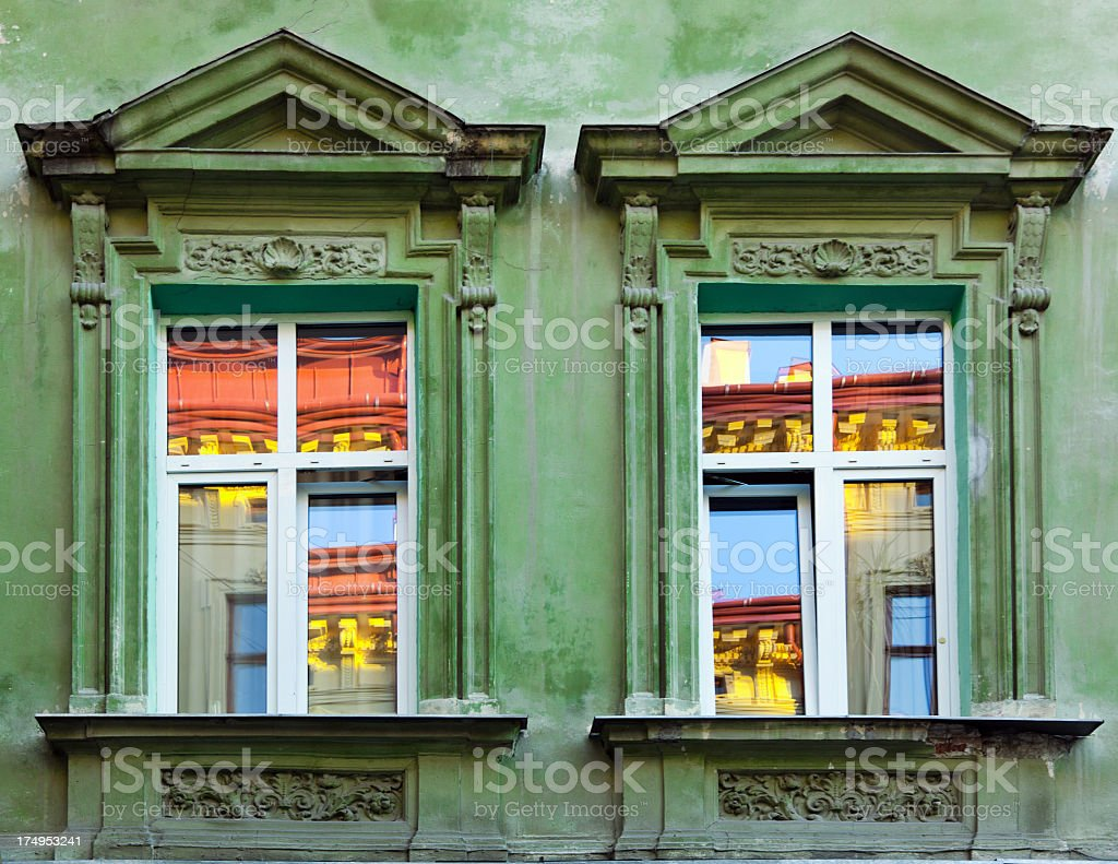 New window with wall in retro design look royalty-free stock photo