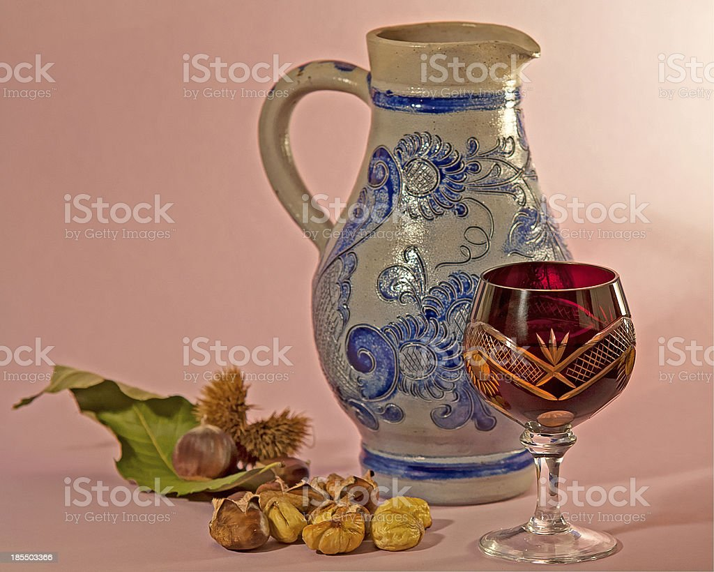 new wine and chestnuts stock photo