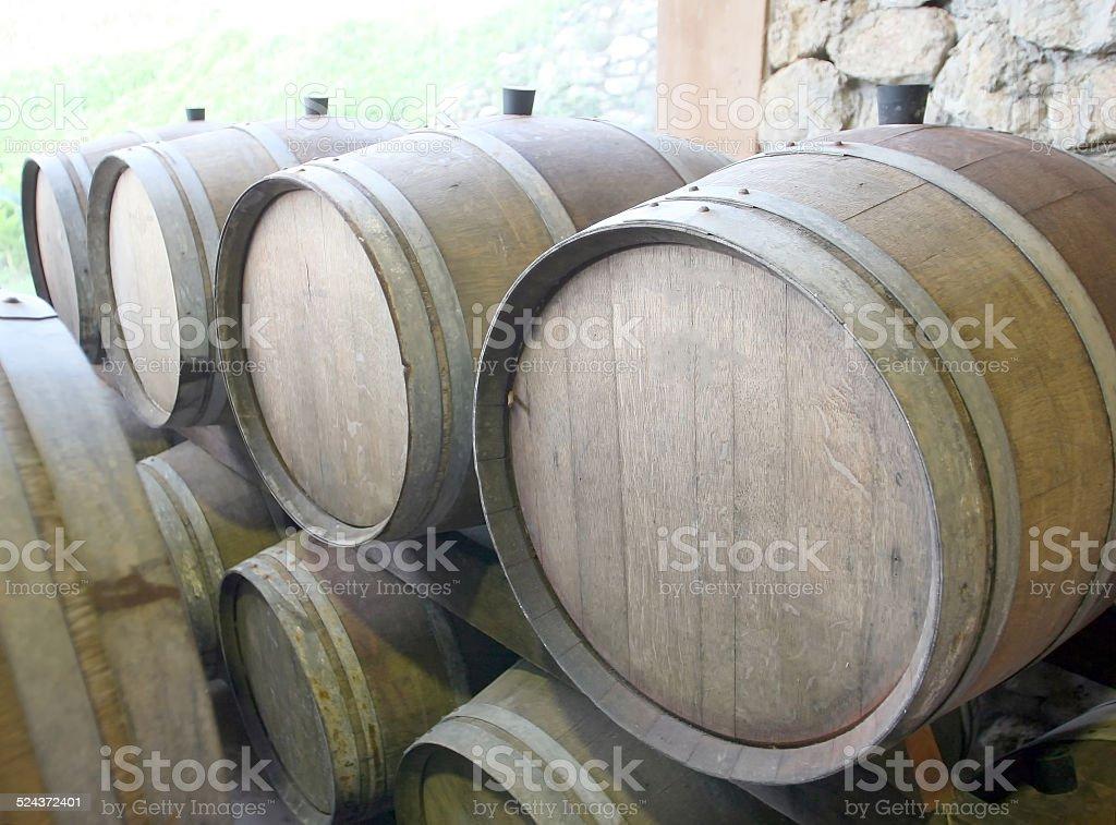 New wine new barrels stored stock photo