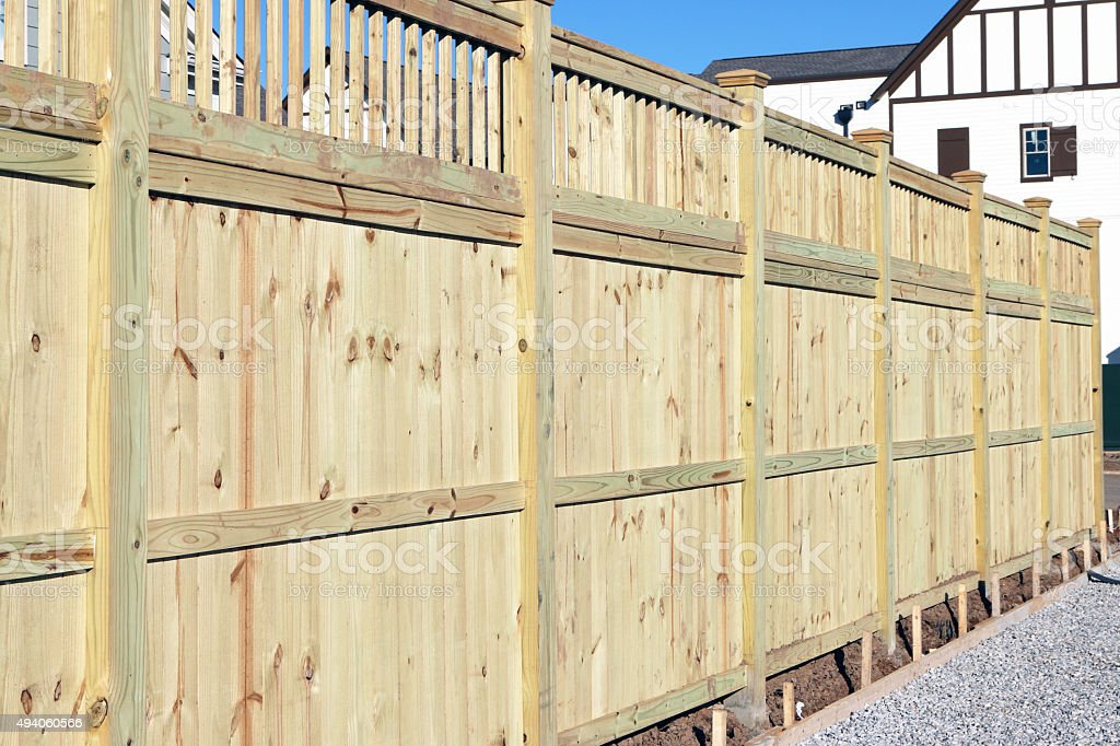 New wood privacy fence stock photo