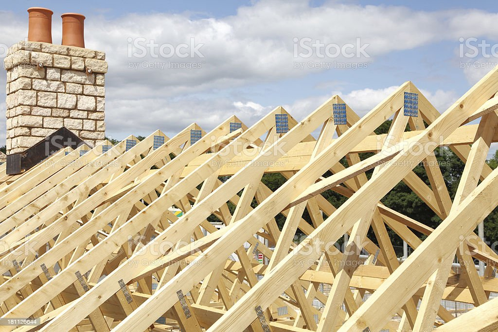 new wooden roof stock photo