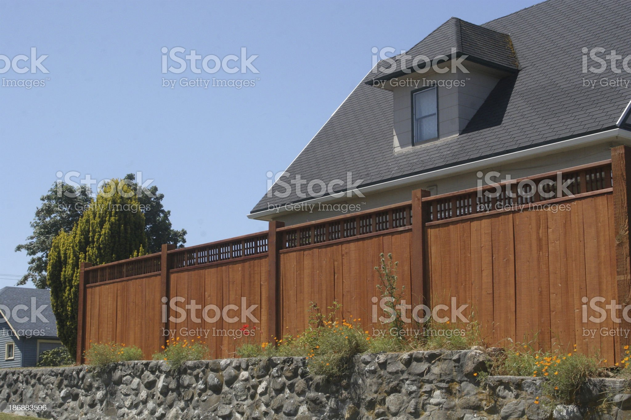 New Wooden Security Fence royalty-free stock photo
