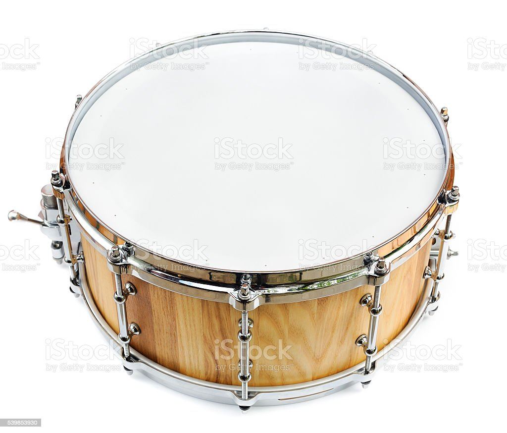 New wooden share drum isolated stock photo