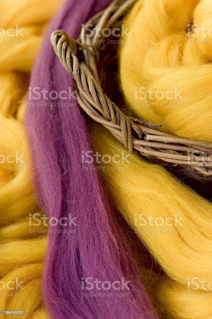New wool, dyed fibres for felting or spinning stock photo
