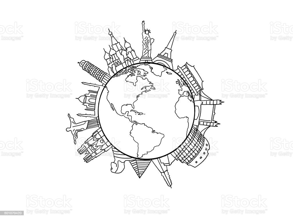 New world graphic vector art illustration