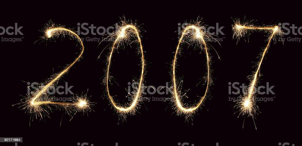 new year 2007 sparkler 3 stock photo