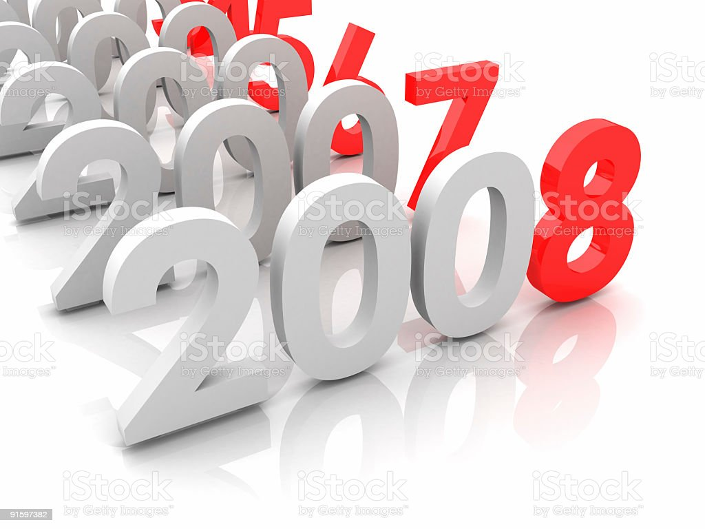 New year 2008 and old 2007,2006... royalty-free stock photo
