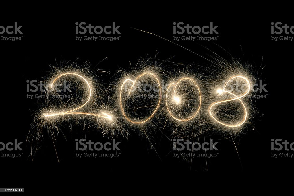 new year 2008 sparklers royalty-free stock photo