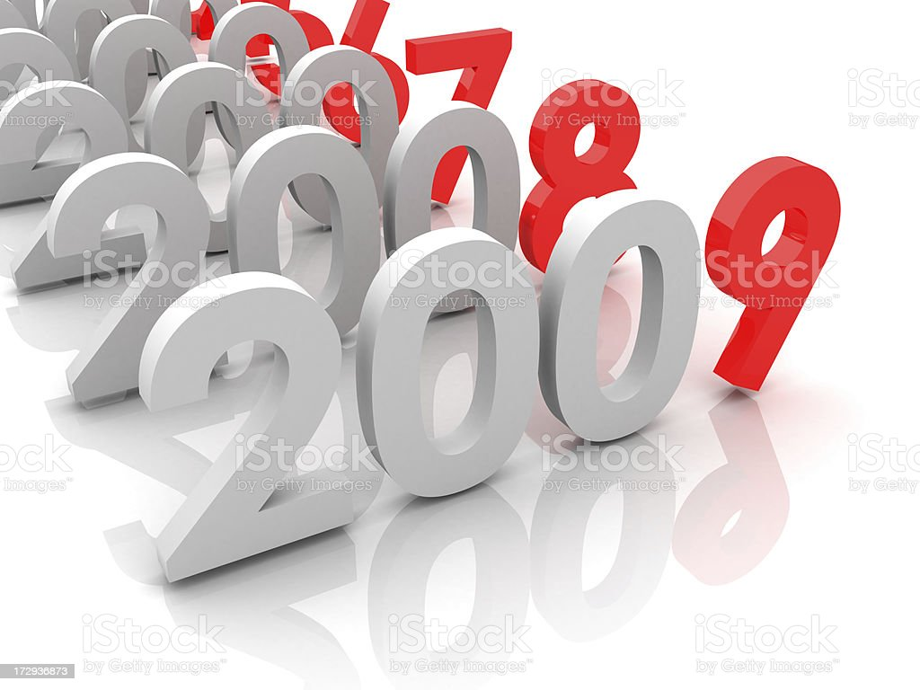 New year 2009 and old 2008,2007... royalty-free stock photo